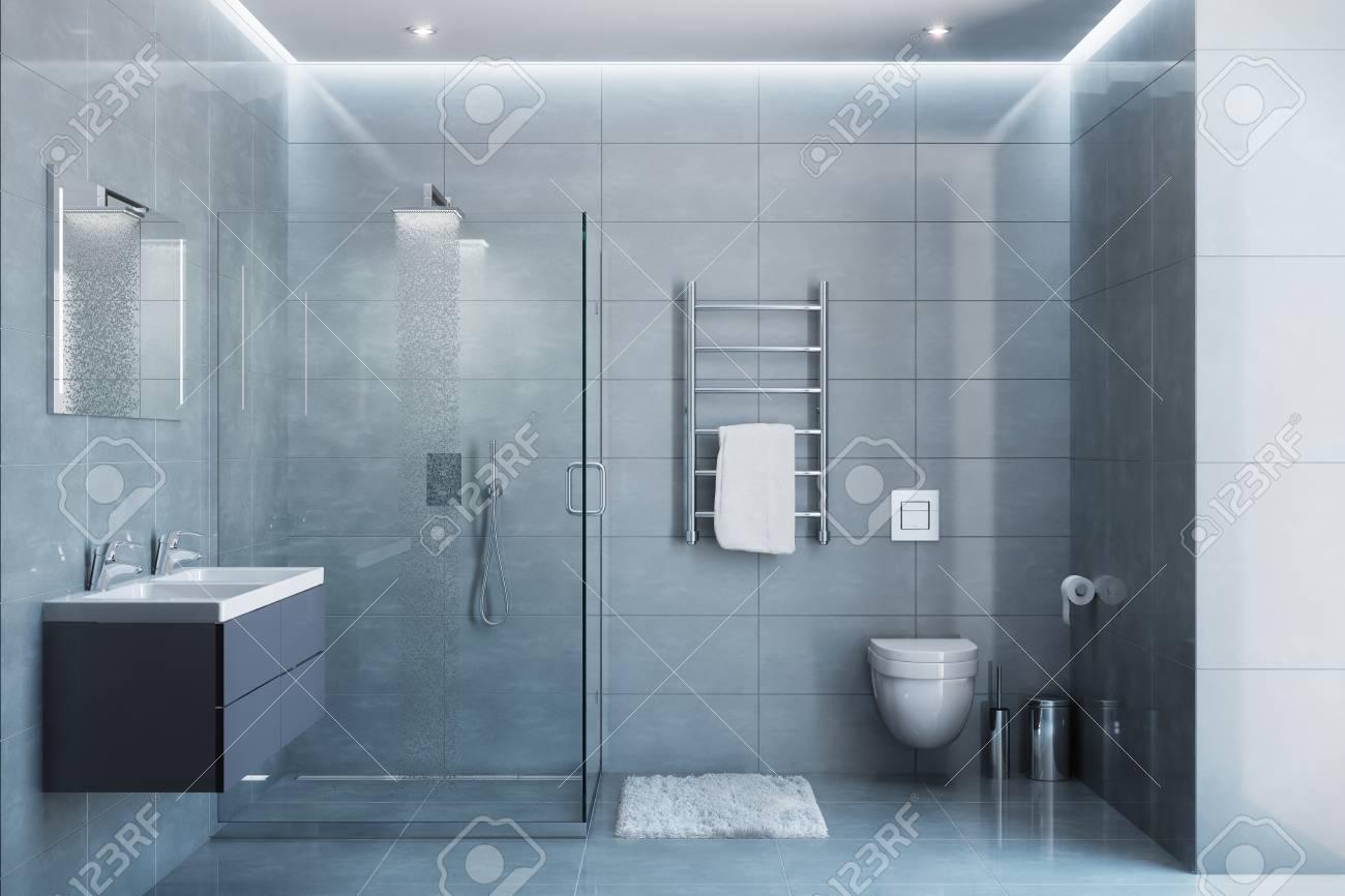 3d ilustración de gris cuarto de baño moderno con equipos y accesorios en  la luz del día