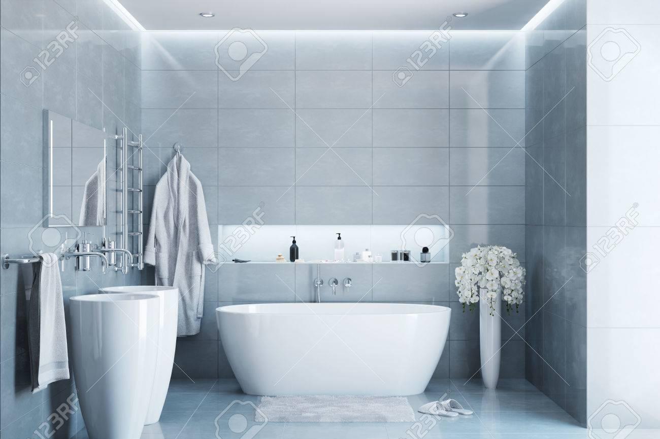 Salle de bains moderne gris dans la journée