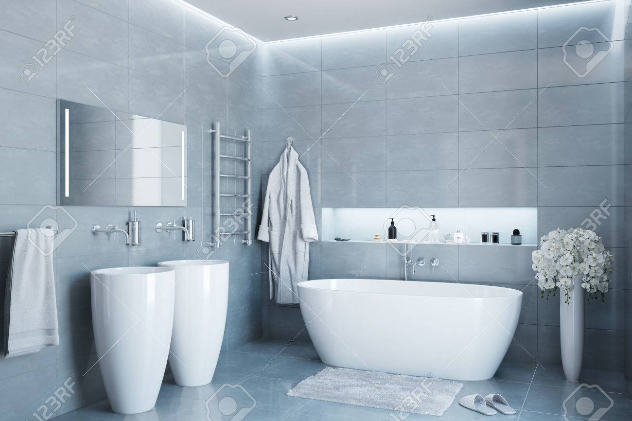 Gray Modern Bathroom In The Day Stock Photo, Picture And Royalty ...