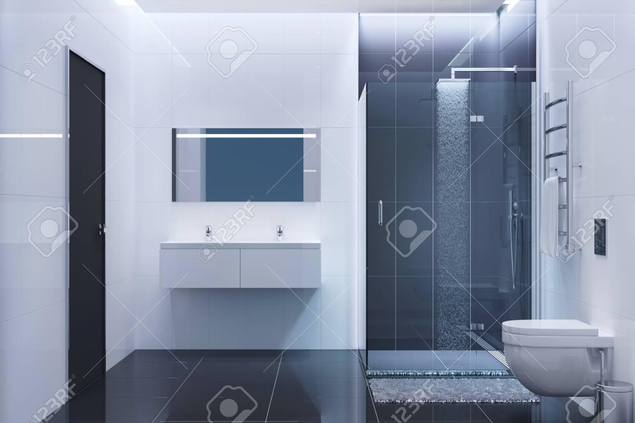 Schwarz-Weiß-moderne Zimmer Am Abend Lizenzfreie Fotos, Bilder Und ...
