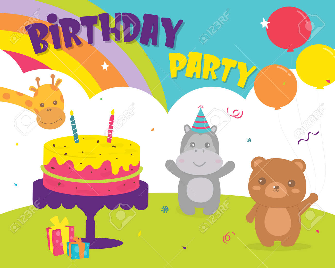 Happy Birthday with decoration for greetings card. Set birthday Party Bear, hippopotamus and giraffe cards design invitation. Card for kids and baby shower. Colorful cute card design. - 157341321