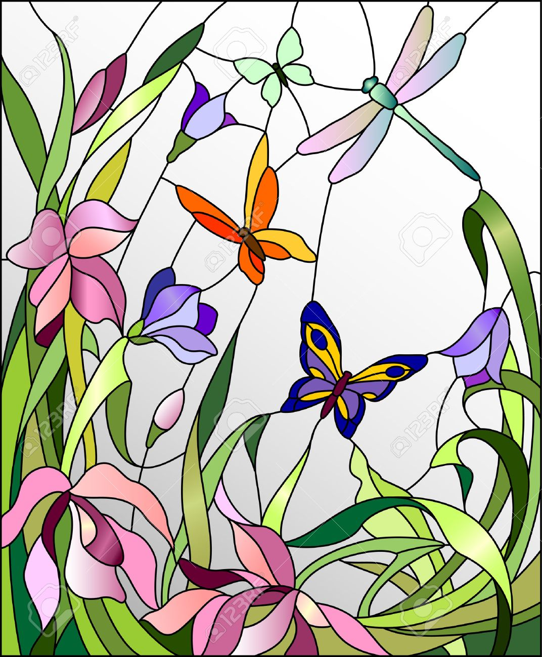 Stained Glass Window With Flowers And Butterflies Stock Vector