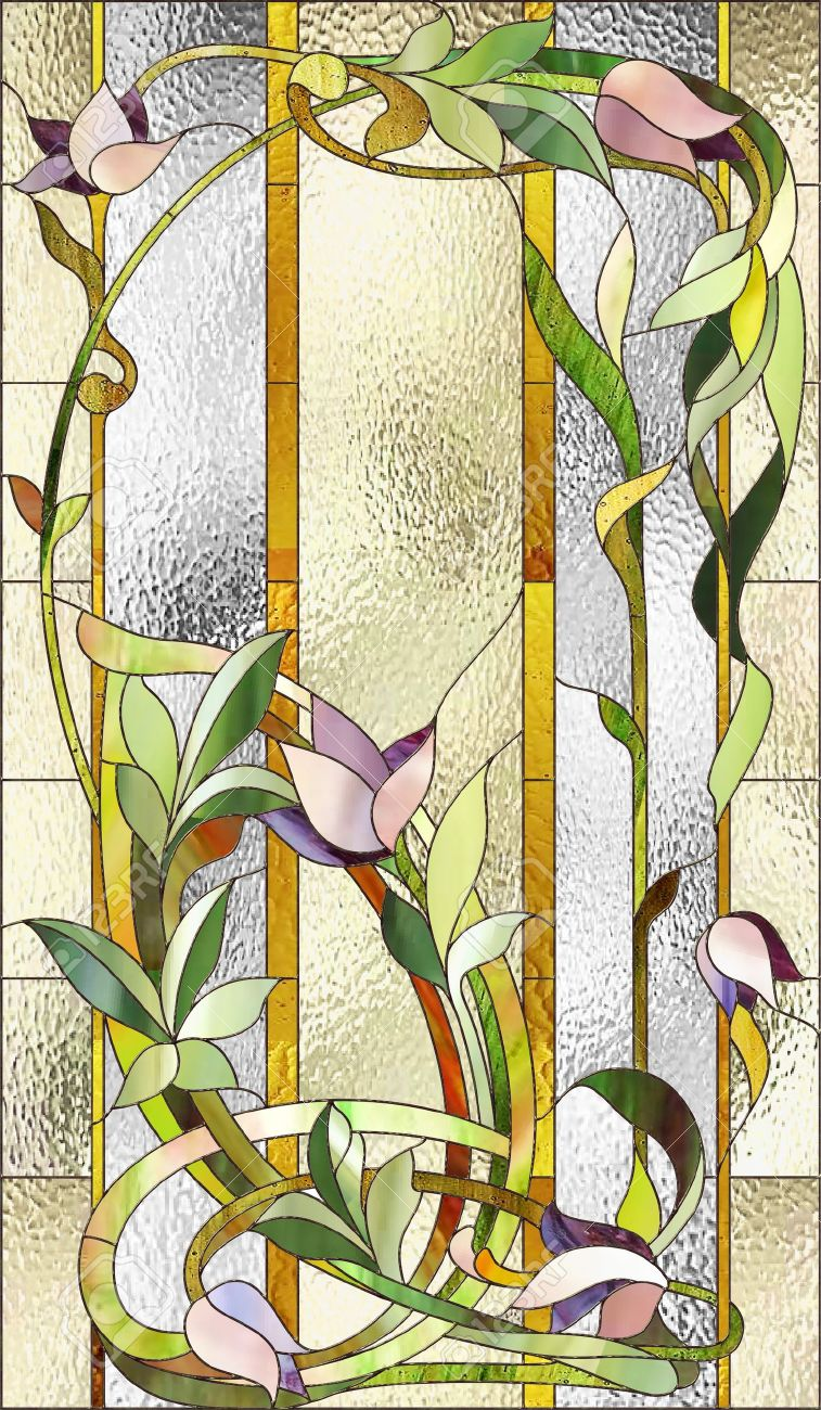Stained glass window with purple floral pattern - 51353471
