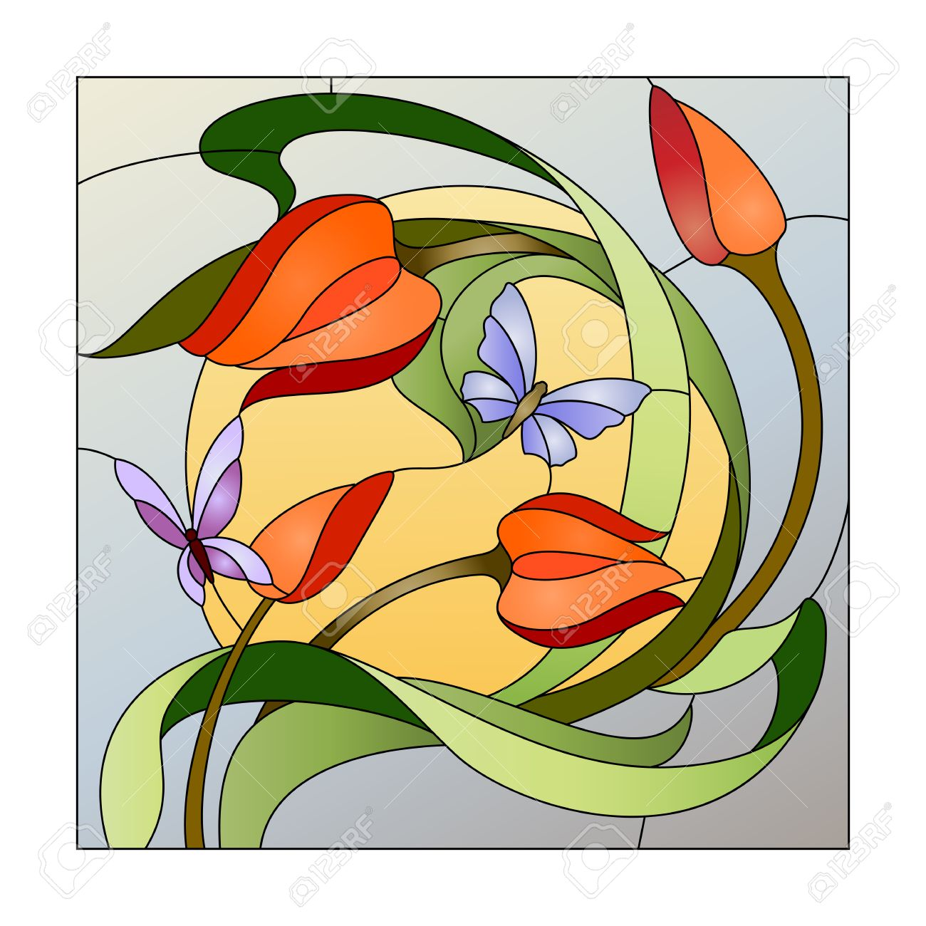 Stained glass pattern with red flowers and butterflies - 57088998