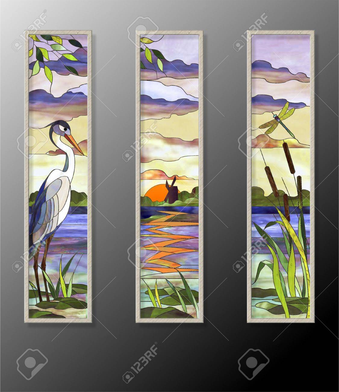 Landscape with heron on a background of lake and mill - 57088999