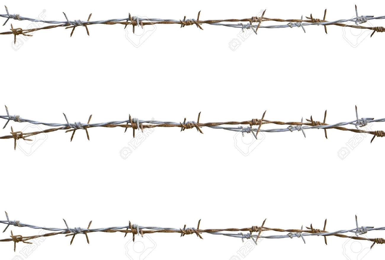 Rusty barbed wire isolated on white - 26617662