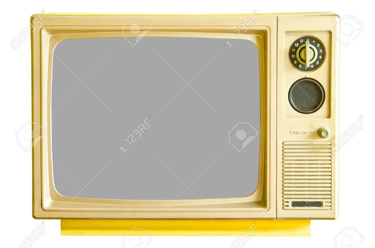 Vintage analog television isolated on white background - 26617668
