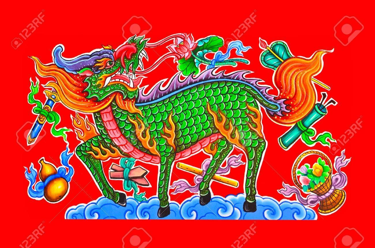Peinture à L Huile Sur Le Mur Dans Le Temple Chinois