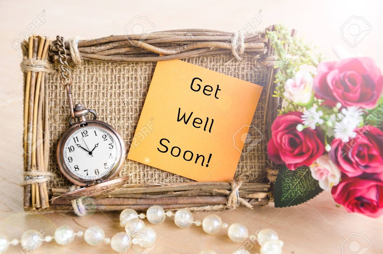 Hand Made Get Well Soon Greeting Card With Roses And Pocket Watch