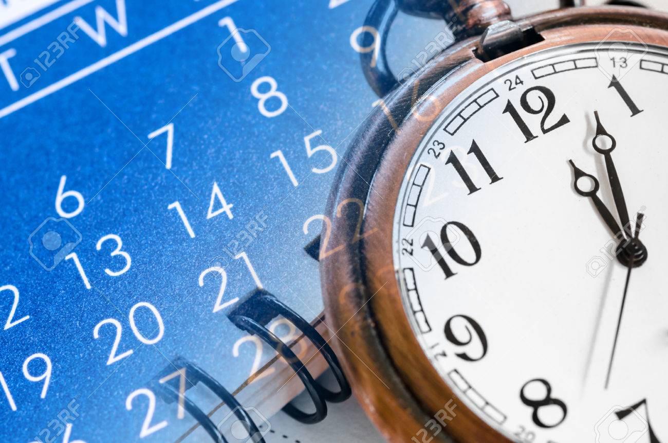 Pocket watch and blue calendar composite. Time concept. - 42737372