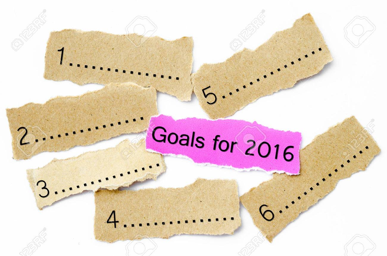 Goals For 2016, Concept on piece of sheet pink and brown paper on a white background - 45051868