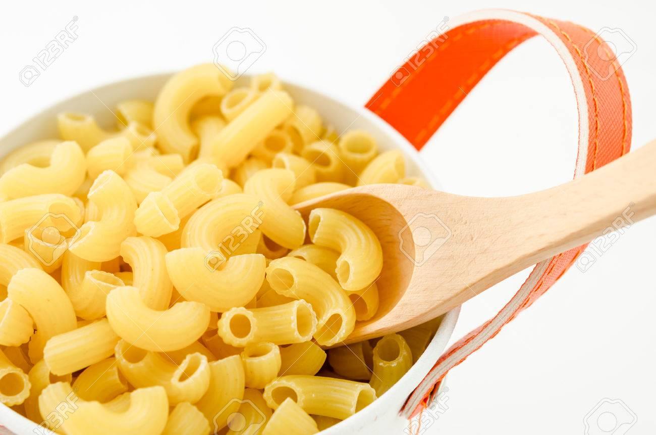 Raw Dry Elbow Macaroni With Wooden Spoon Italian Pasta Raw Food In White Bowl On