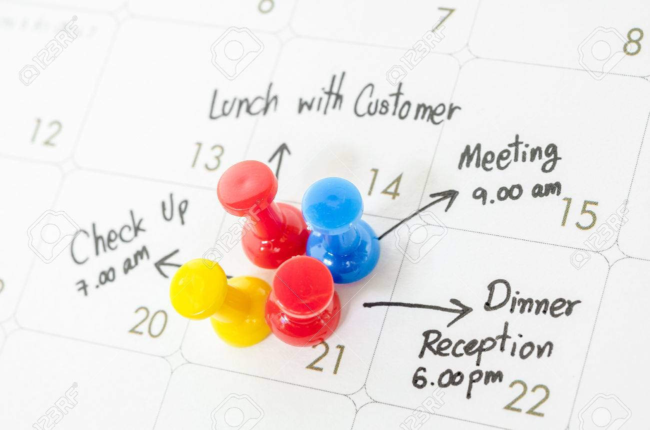 Pushpin on calendar with busy day overworked schedule. - 49606449