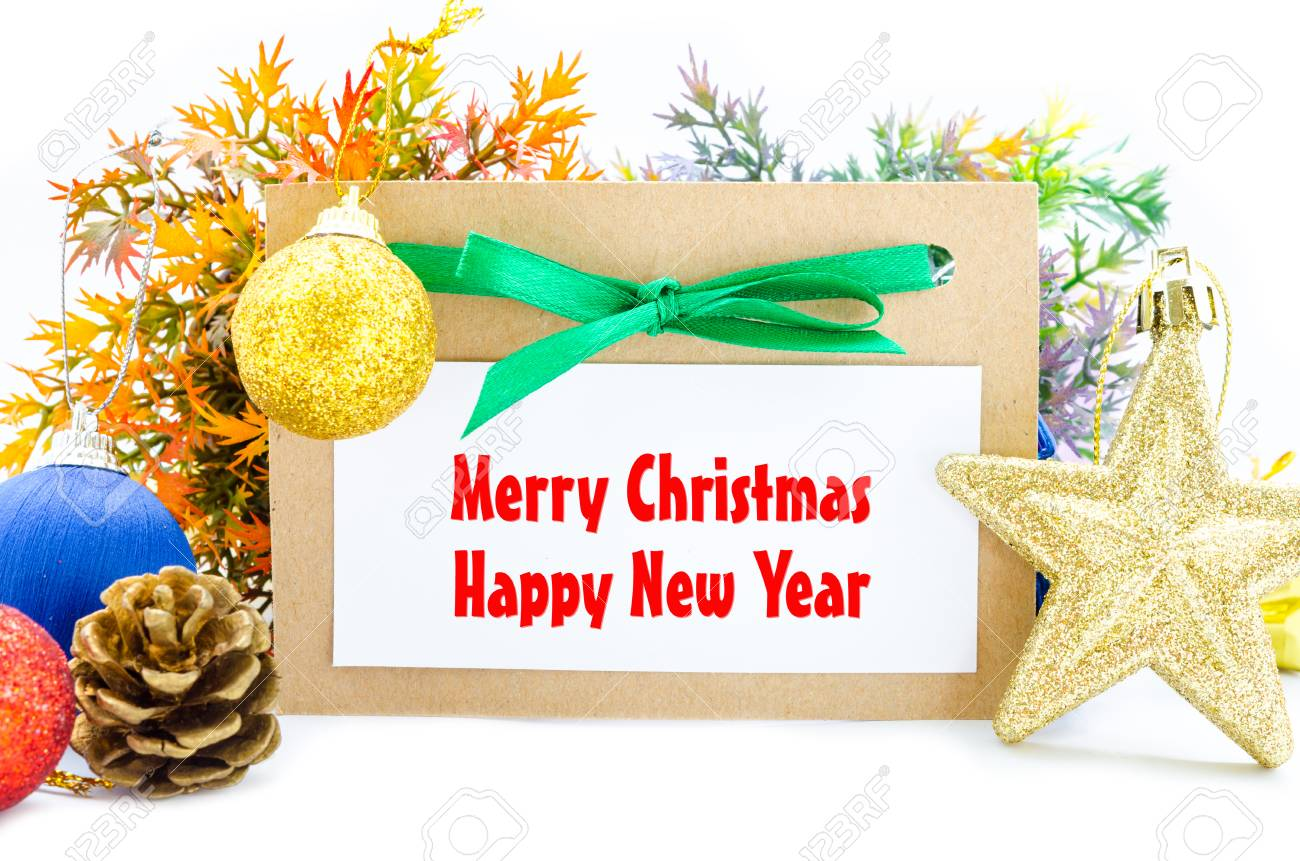 merry christmas and happy new year card with christmas decorations on white background stock photo