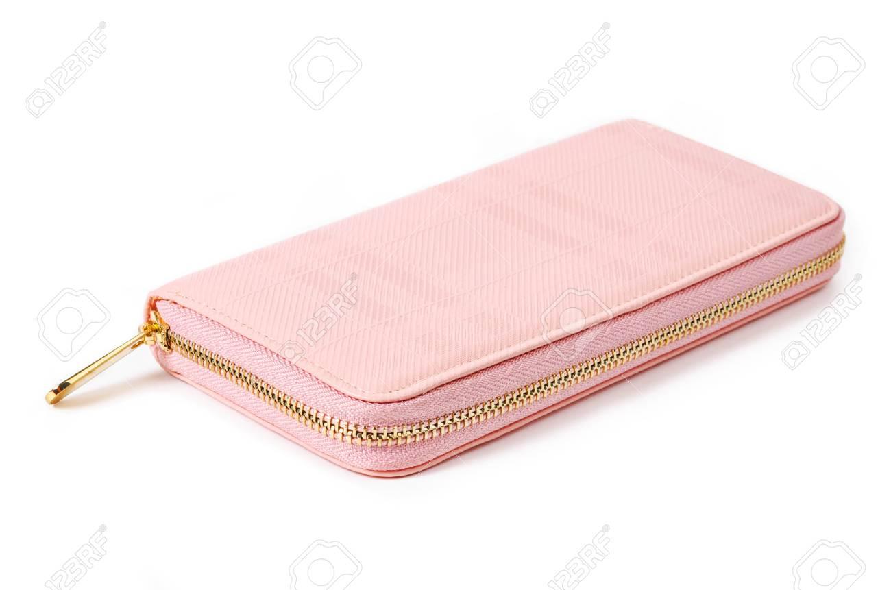 Roze Portemonnee.Roze Portemonnee Portemonnee Geisoleerd Op Een Witte Achtergrond
