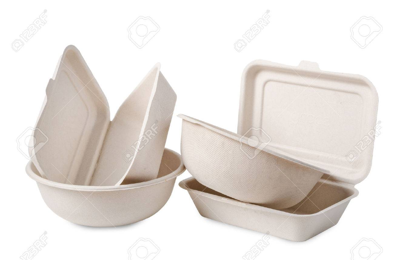 Group of product made from bagasse for container food, Box, bowl and cup. Isolated on white background, Clipping path - 78964177