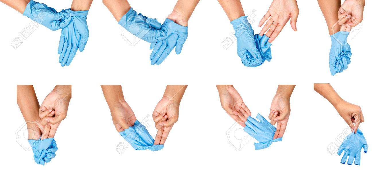Step of hand throwing away blue disposable gloves medical, Isolated on white background. Infection control concept. - 82488229