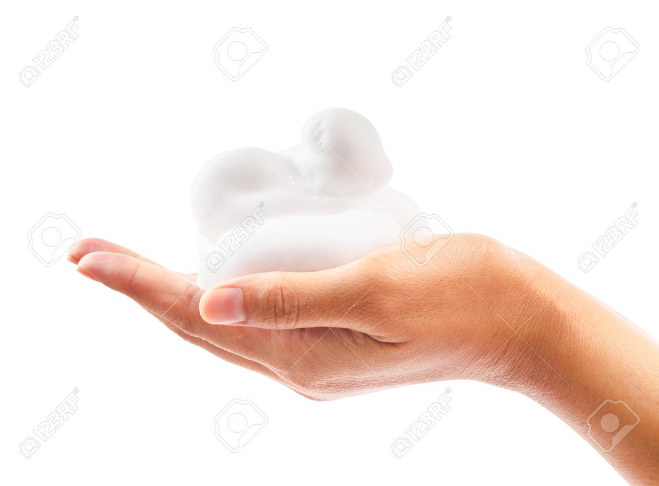 close up foam in hand isolated on white background, Save clipping path. - 88133288