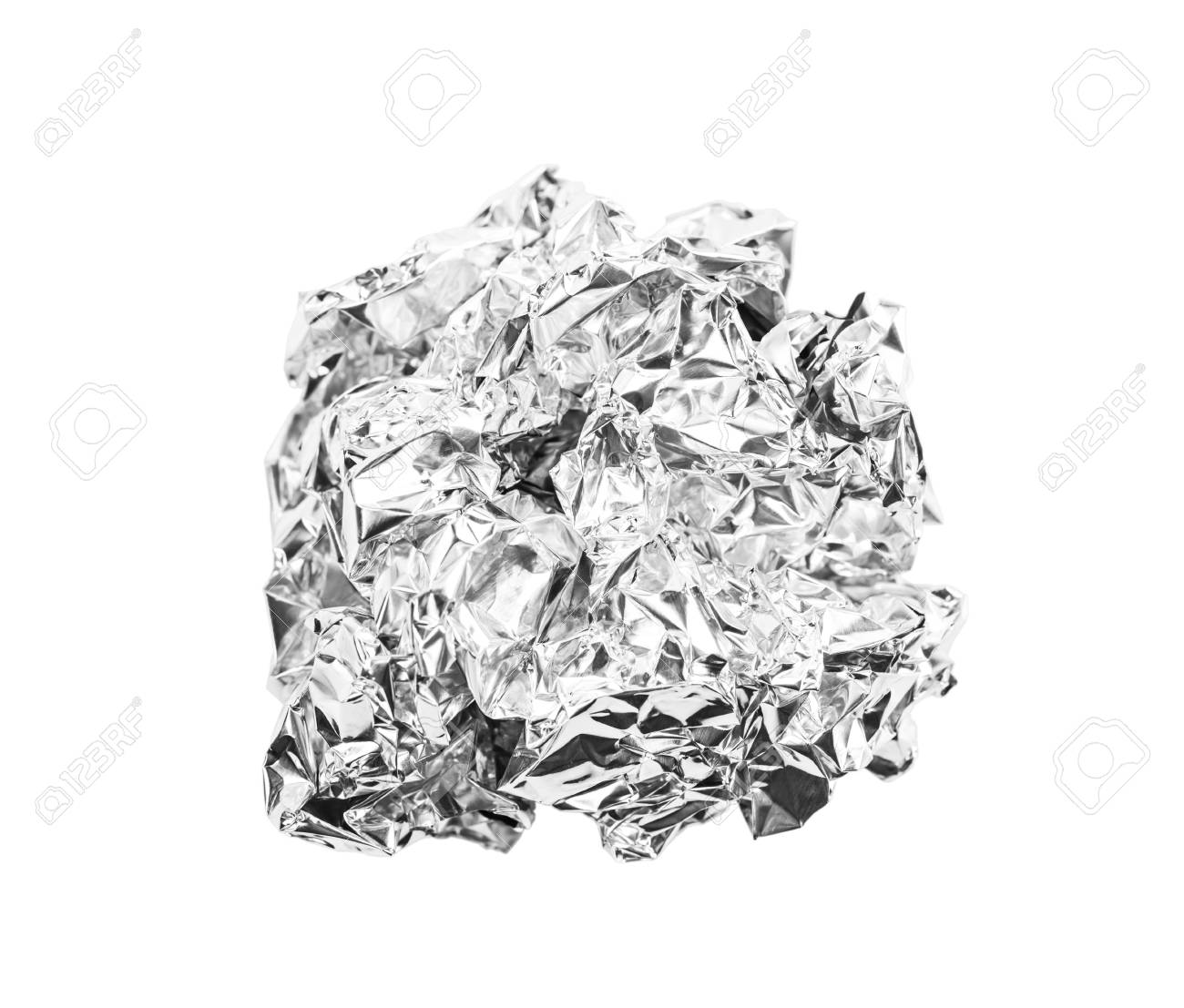 crumpled ball of aluminum foil isolated on white background, Save clipping path. - 123037593