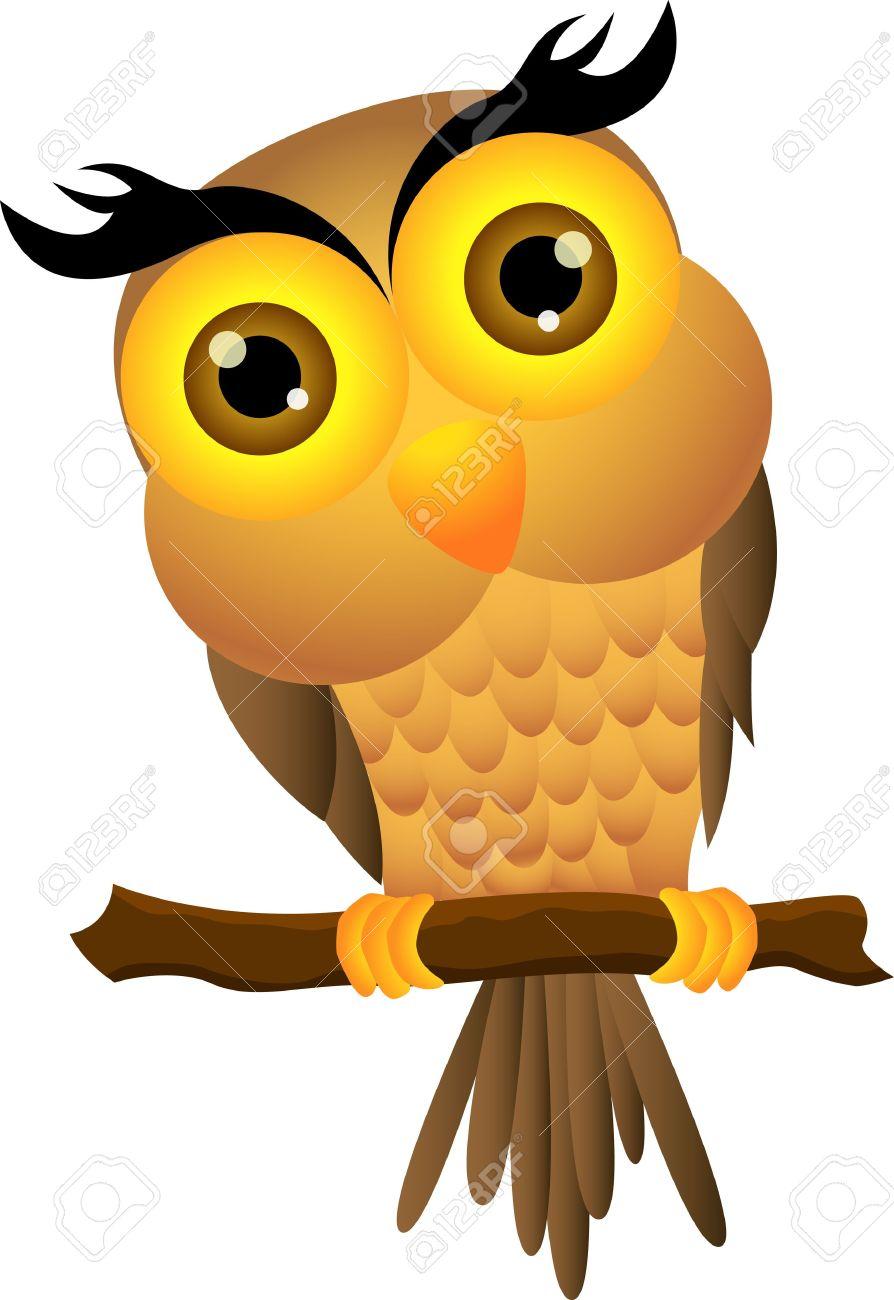 Cartoon owl sitting on tree branch Stock Vector - 14805586