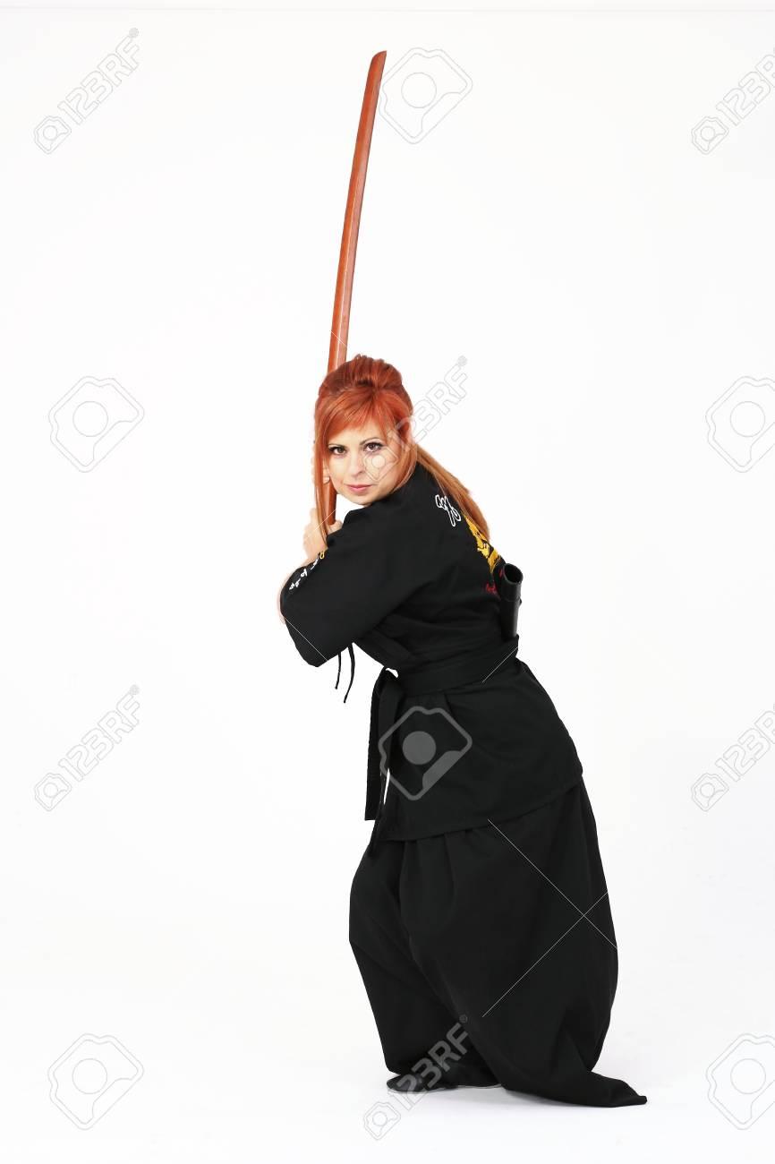 Woman training Haidong Gumdo, a martial art, Kendo form