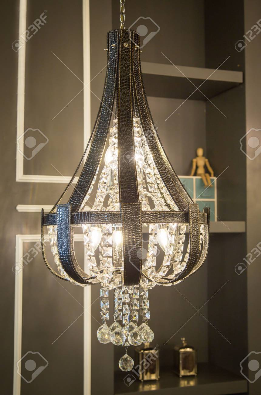 Close Up On Crystal Of Contemporary Chandelier Is A Branched Stock Photo Picture And Royalty Free Image Image 117513415