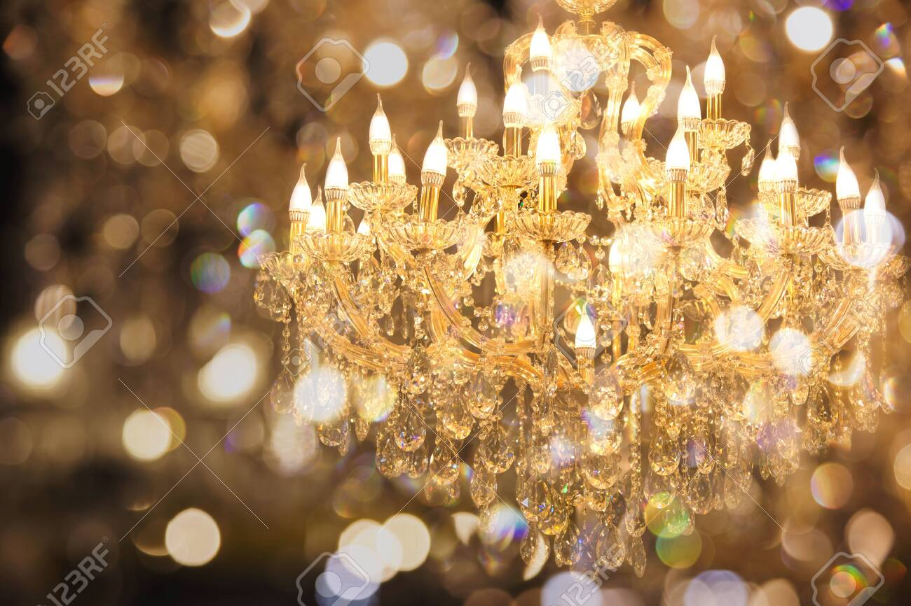 Close Up On Crystal Of Contemporary Chandelier Is A Branched Stock Photo Picture And Royalty Free Image Image 119887368