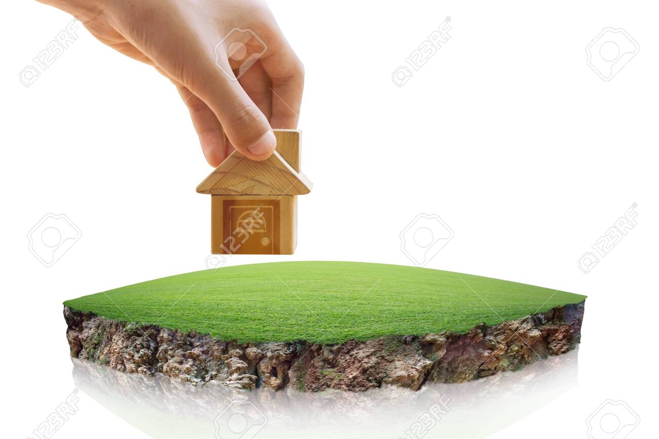 House symbol and Empty dry cracked swamp reclamation soil, land plot for housing construction project. round soil ground cross section with earth land, fantasy floating island with natural on the rock - 138018840