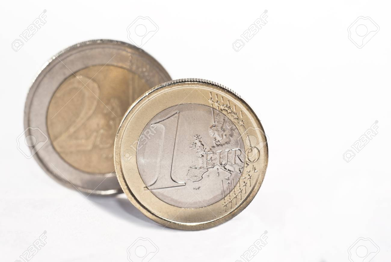 One and two euro coin, isolated on the white background.selective focus Stock Photo - 13931350