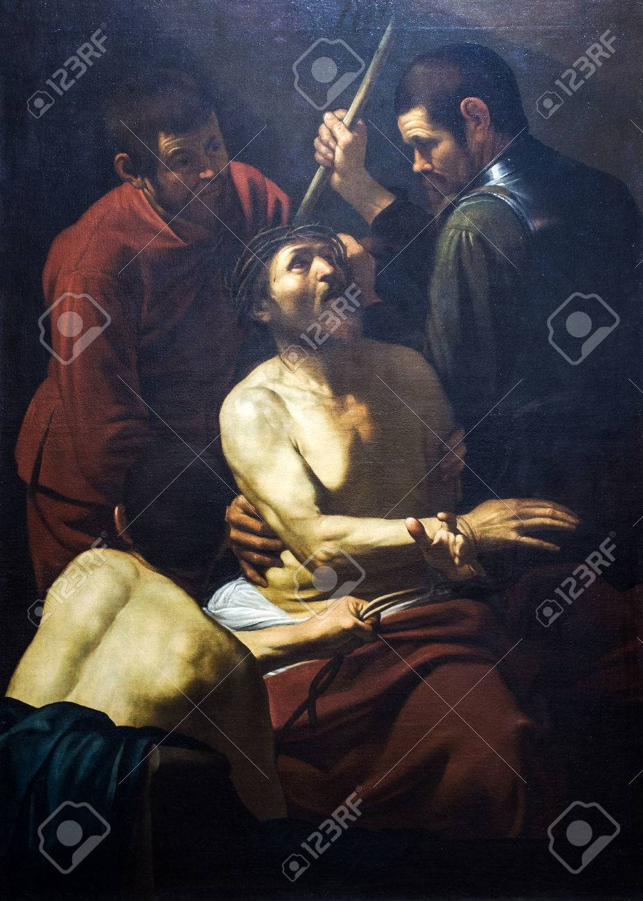 PALERMO, ITALY-JANUARY 02, 2016: The Crowning with Thorns is a painting by the Italian painter Michelangelo Merisi da Caravaggio exposed to the Mirto palace of Palermo. Banca Popolare di Vicenza collection - 51774890