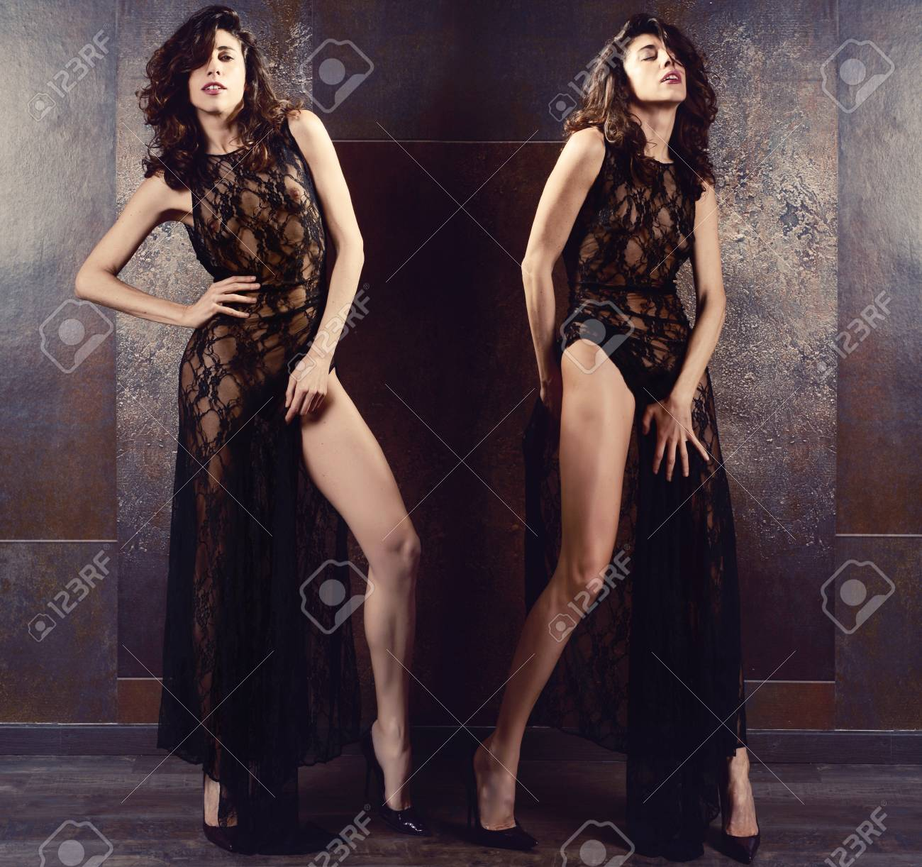 sensual woman with sexy body and black lace dresses Stock Photo - 105079928 2b30dfbbe