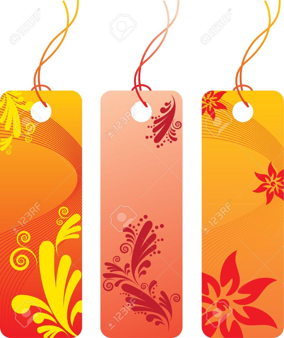 I tag background image - Orange Flower Price Tag Label Set Many Decorative Elements Isolated On A White Background