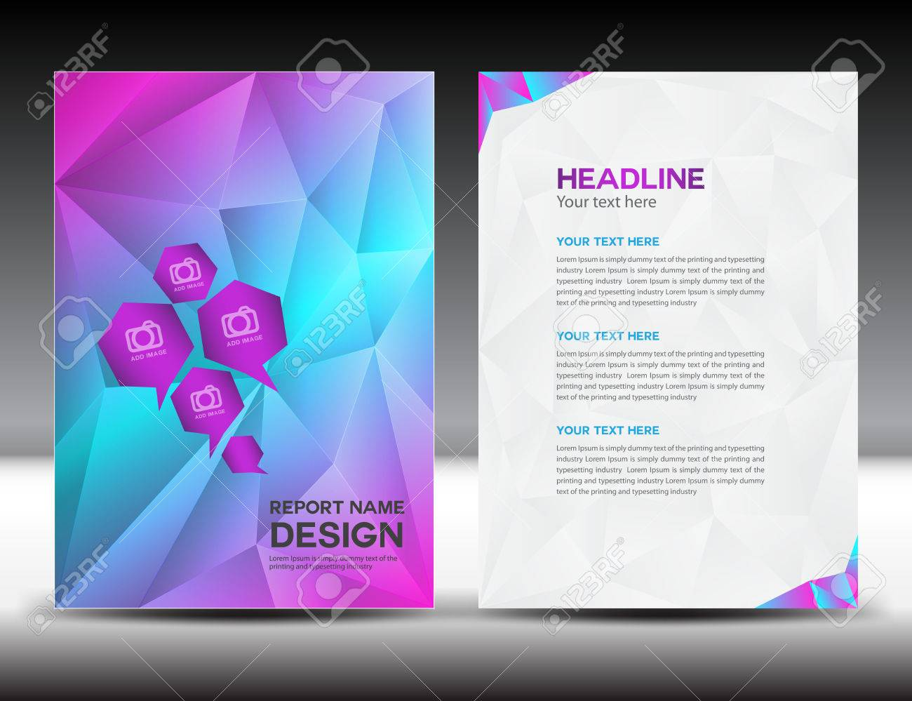 colorful cover annual report template polygon background brochure