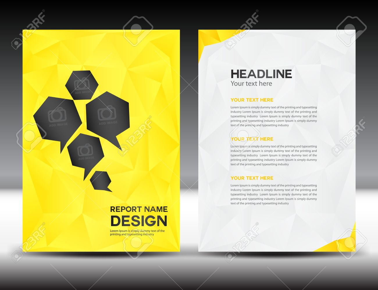 yellow cover annual report template polygon background brochure yellow cover annual report template polygon background brochure design cover template flyer