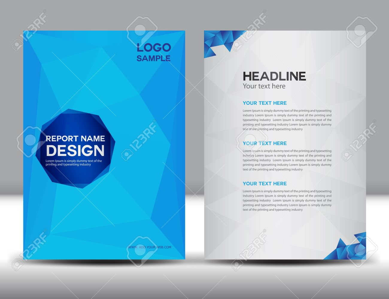 Blue Cover Annual Report Template,polygon Background,brochure Design,cover  Template,flyer