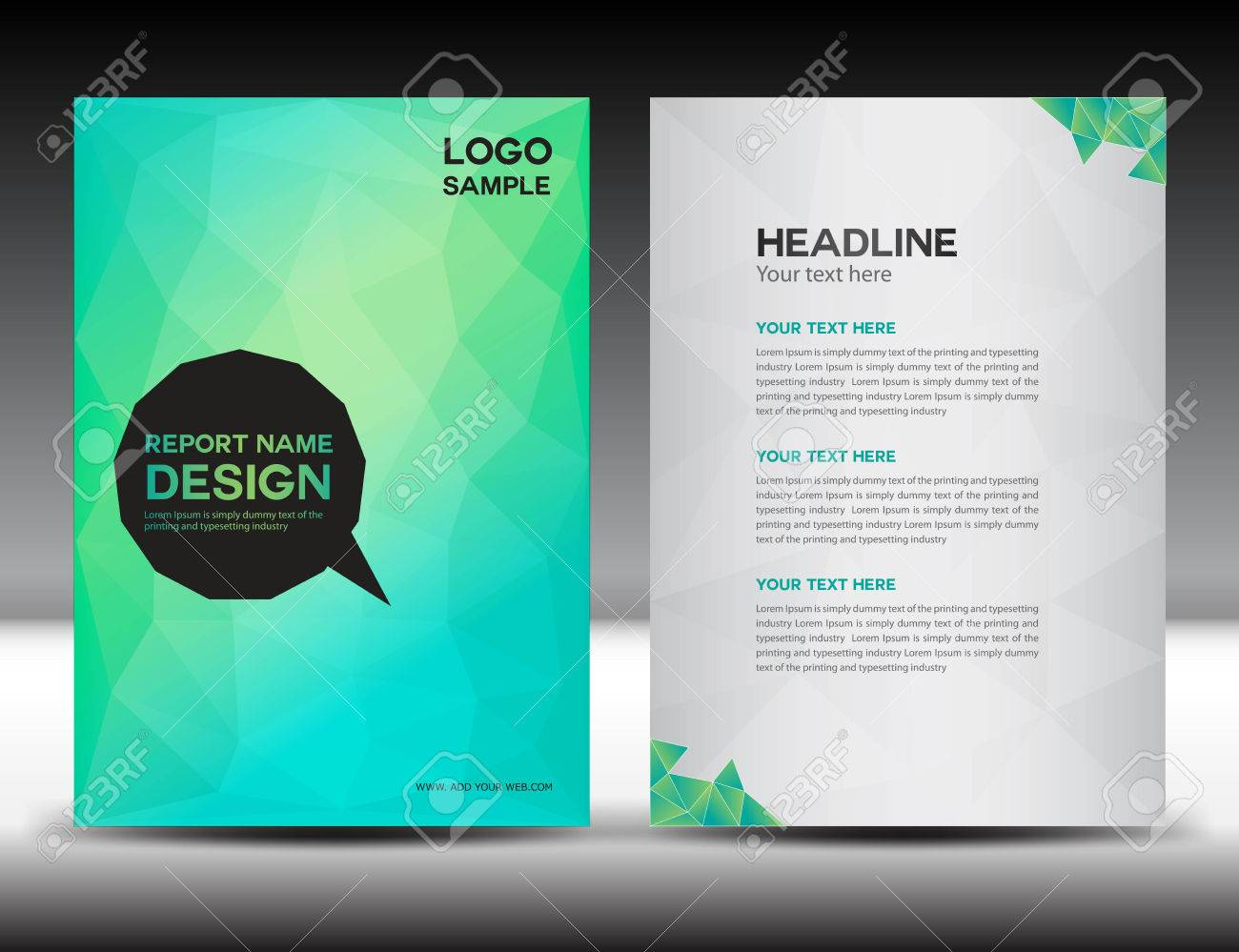 green cover annual report template polygon background brochure green cover annual report template polygon background brochure design cover template flyer