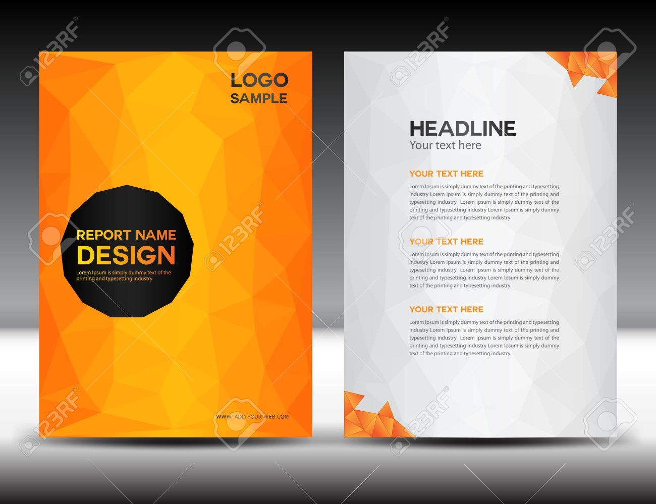 Orange Cover Annual Report Template,polygon Background,brochure Design,cover  Template,flyer  Annual Report Template Design