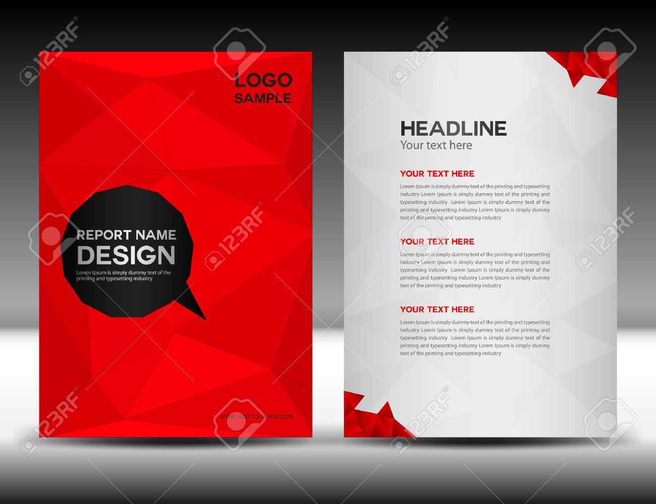 red cover annual report template polygon background brochure red cover annual report template polygon background brochure design cover template flyer