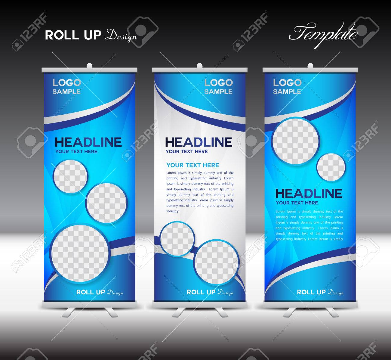 and blue Roll Up Banner template illustration,polygon background,banner design,standy template,roll up display,advertisement,Roll up banner stand design,blue background - 52956508