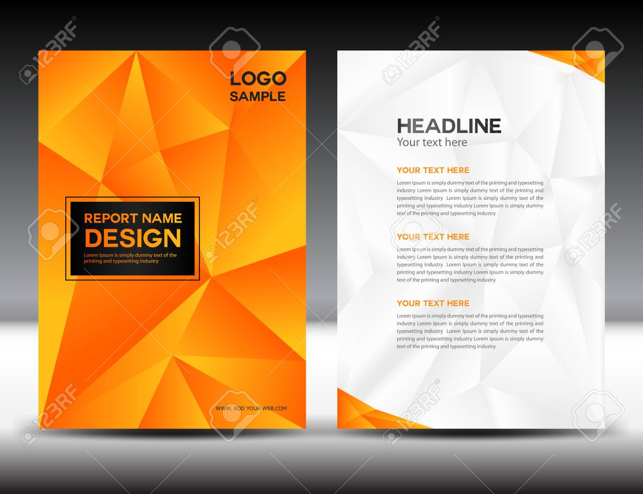 Orange Cover Annual Report Design Illustration,cover Design, Brochure Design,  Template Design,  Annual Report Template Design