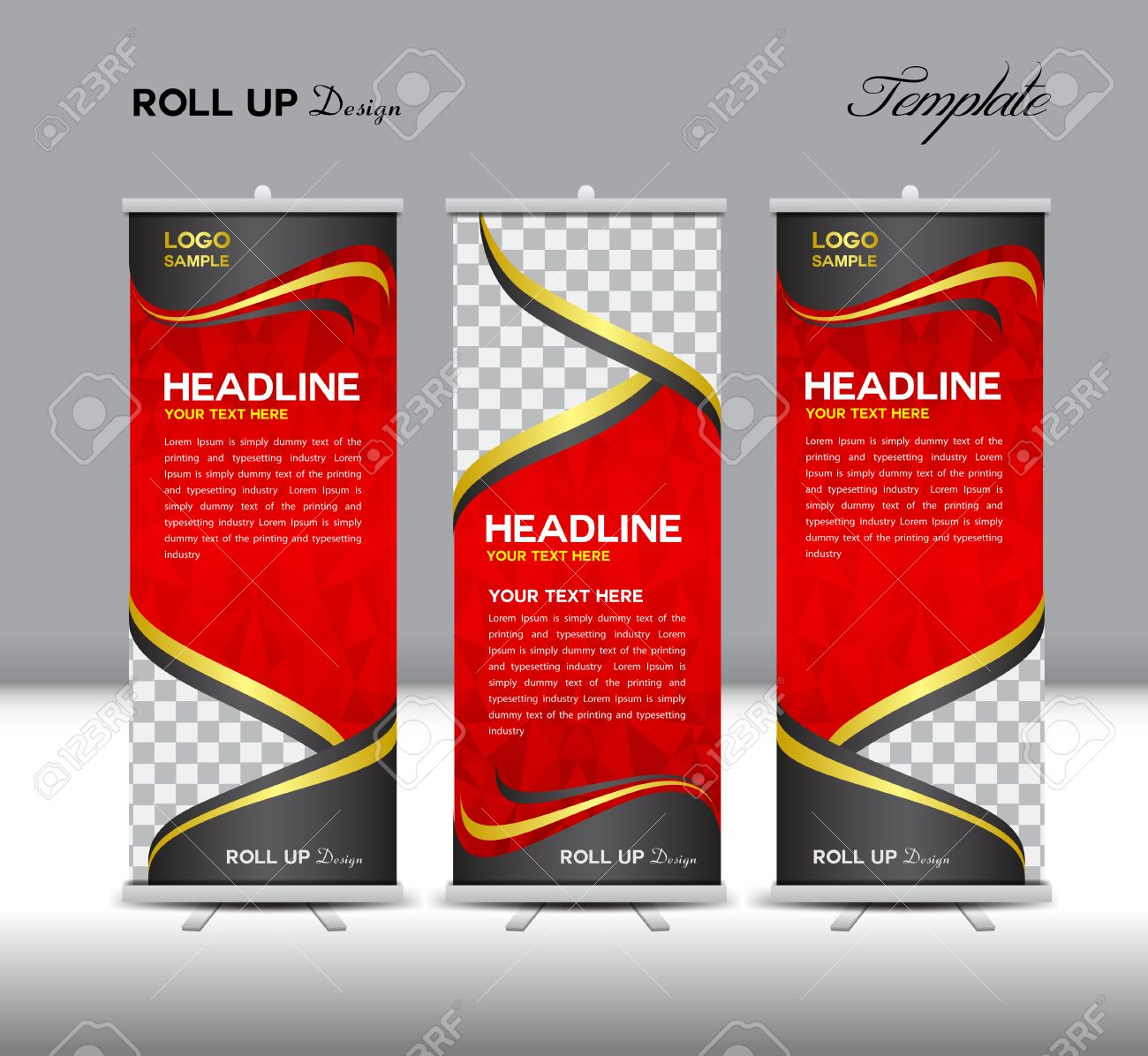 Design for roll up banner - Red Roll Up Banner Template Illustration Polygon Background Banner Design Standy Template