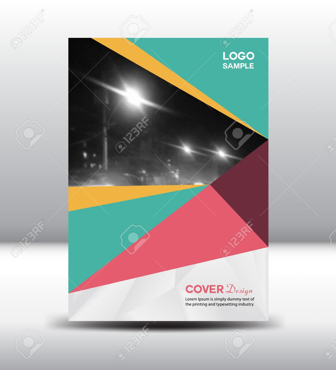 green and pink cover design template brochure polygon background