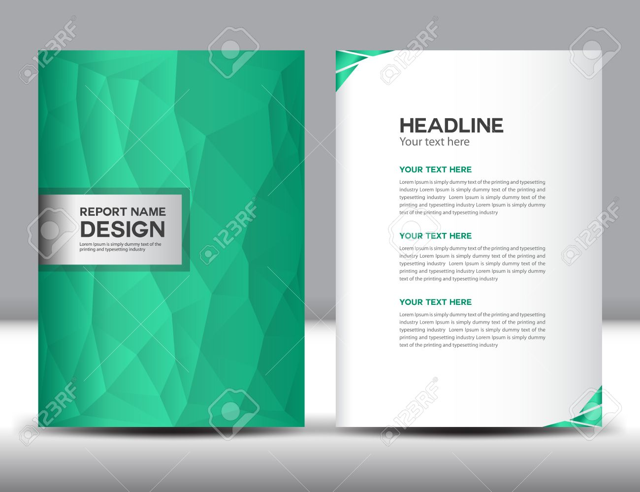 Portfolio Cover Template | Green Cover Annual Report Template Polygon Background Brochure
