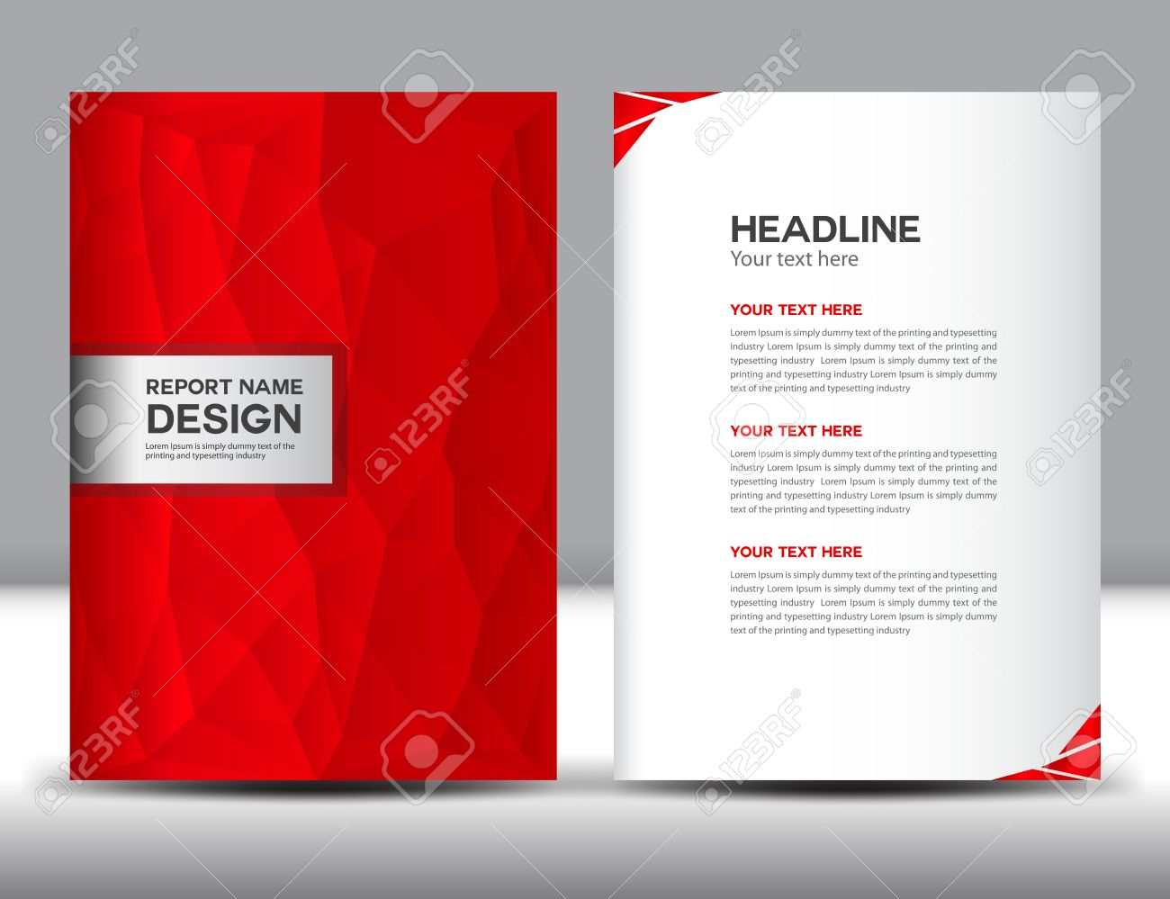 Red Cover Annual Report Template,polygon Background,brochure Design,cover  Template,design  Annual Report Template Design