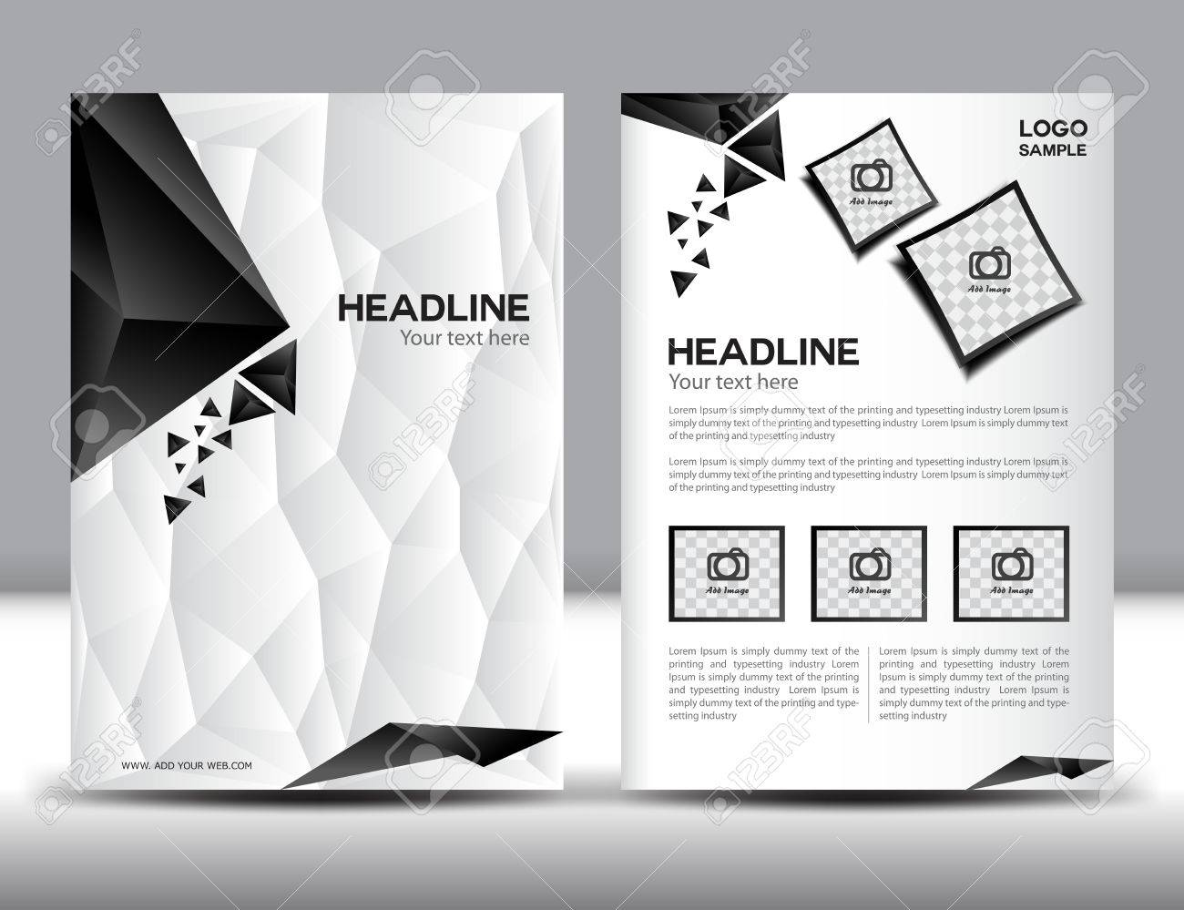 abstract modern brochure design templates with red geometric