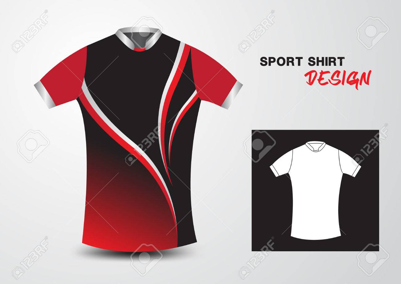 Red And Black Sport Shirt Design Illustration a3477d0b13e07