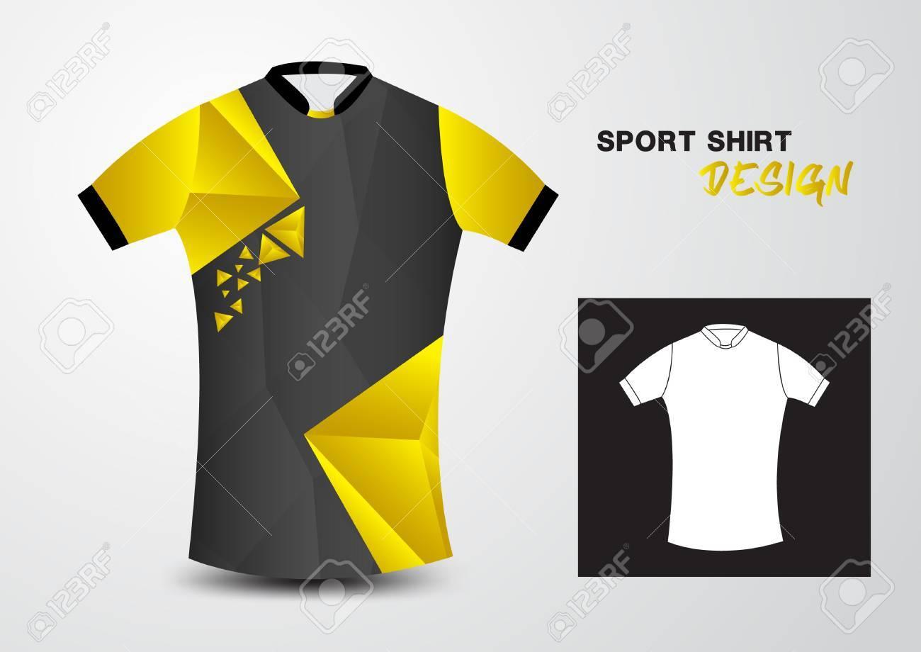 c62f0f2a34fc3 Camisa De Deporte Ilustración Amarillo Y Negro Del Diseño Polígono ...