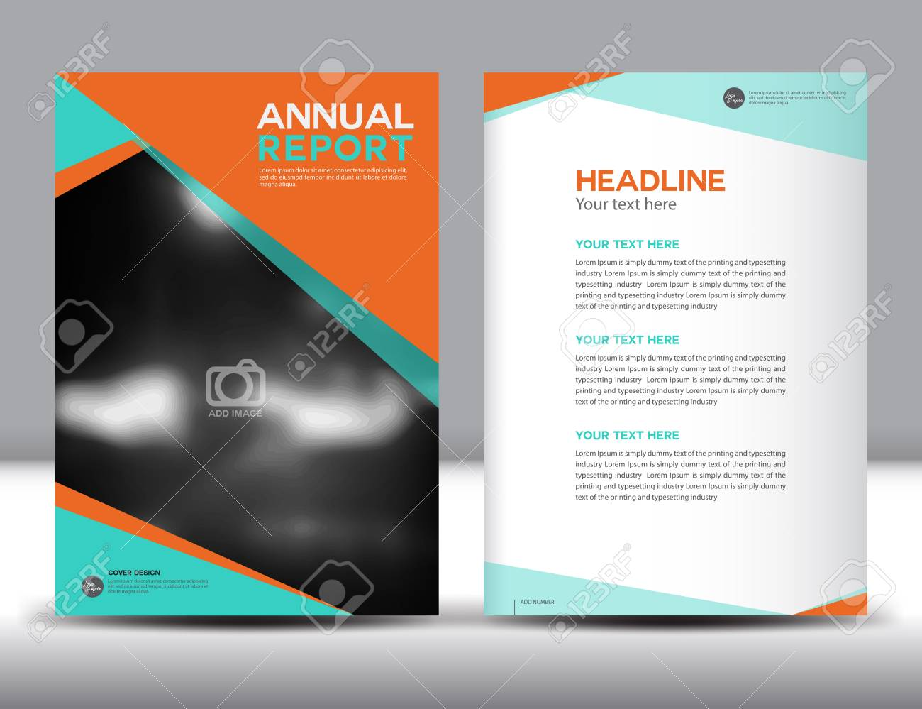 orange annual report template illustration polygon background