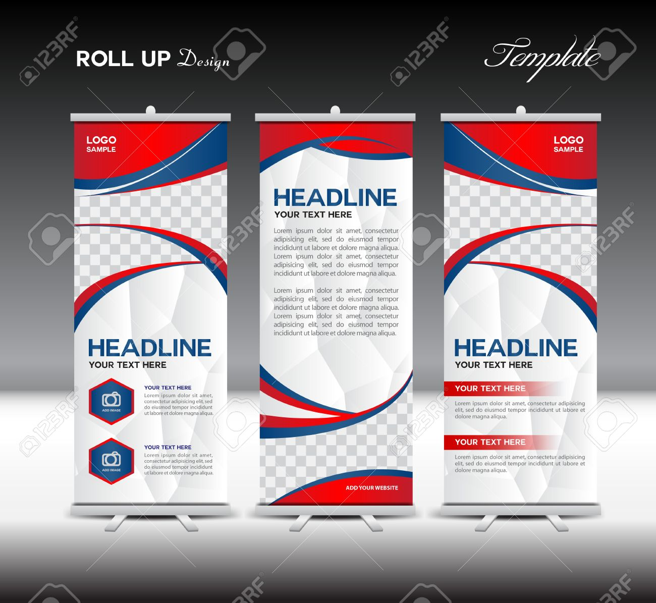 Red And Blue Roll Up Banner Template Illustration,banner Design ...