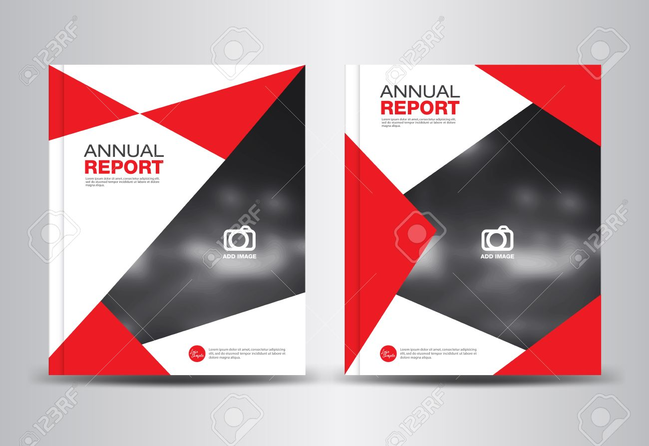 red annual report template polygon background brochure design cover